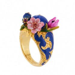 """Кольцо Синий камень и цветы"""""""""""